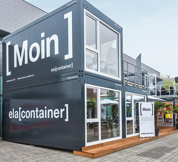 ELA Container - Messestand Jobmesse Lingen Frontansicht links